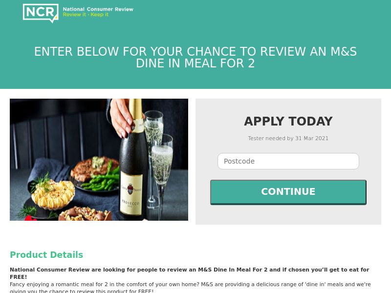 NCR - Review M&S Dine In Meal For 2 (incent) [UK]