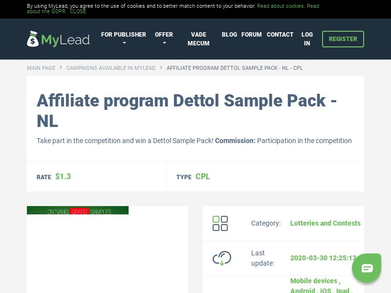 Dettol Sample Pack - NL (NL), [CPL], Lotteries and Contests, Single Opt-In, paypal, survey, gift, gift card, free, amazon