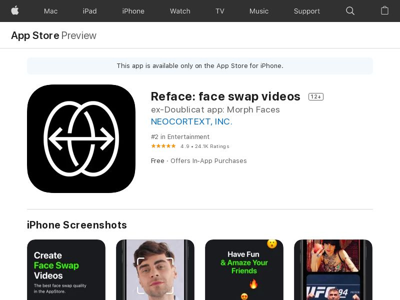 Reface - iOS - UK (Direct CPA)