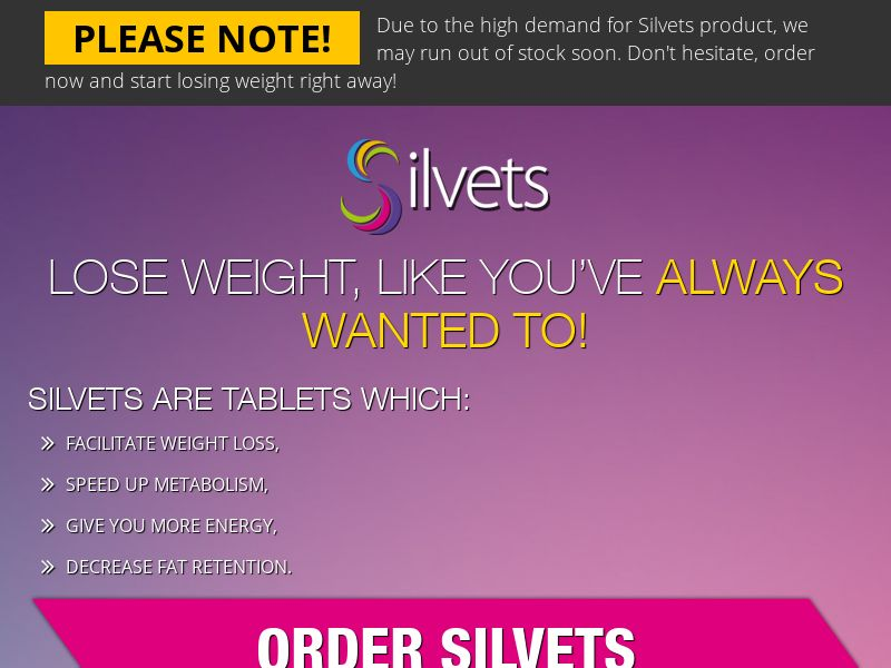 Silvets - Weight Loss Supplement (PPS) - Health/Nutra - UK