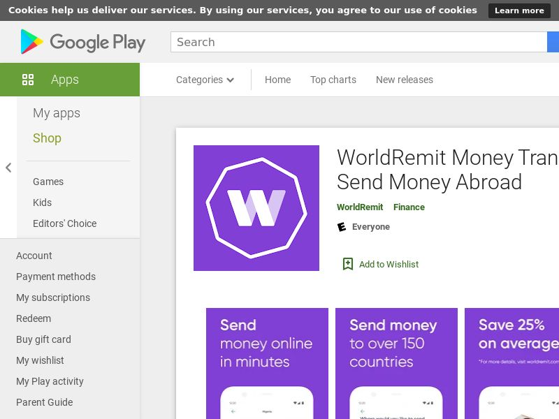 WorldRemit Money Transfer App: Send Money Abroad (Android 8.0+) US AU CA - Non incent