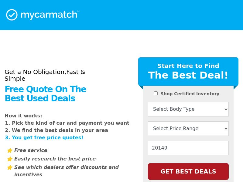 My Car Match US (WEB) - Non Incent RevShare
