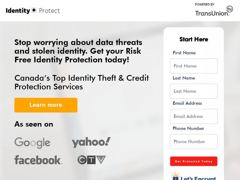 Identityprotect.ca - ID Theft Protection- Free Trial $1 - [CA]