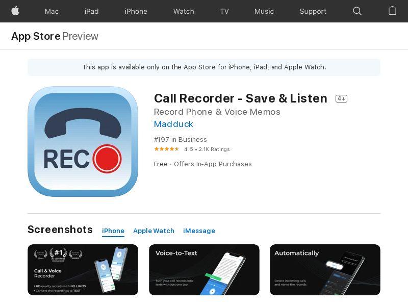 Call Recorder - Save & Listen_ US,UK,DE,FR,IL,IN,DK,NO,JP,AU,CA,CH,KR,SA_IOS_Non - Incent_ [CPA]