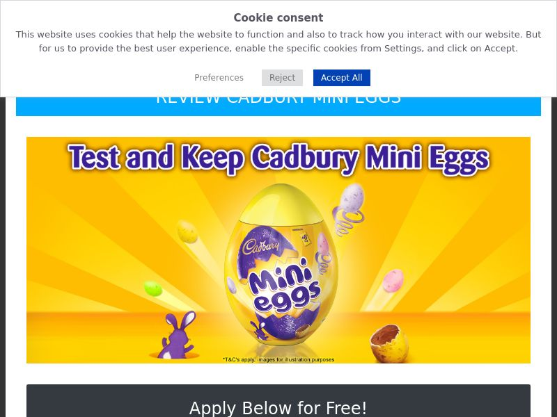 OfferX - Test And Keep Cadbury Mini Eggs (Incent) [UK]