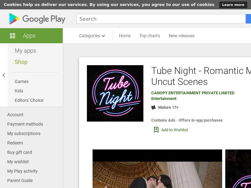 Tube Night - Romantic Movies and Uncut Scenes (Android 7.0+) IN - Non incent