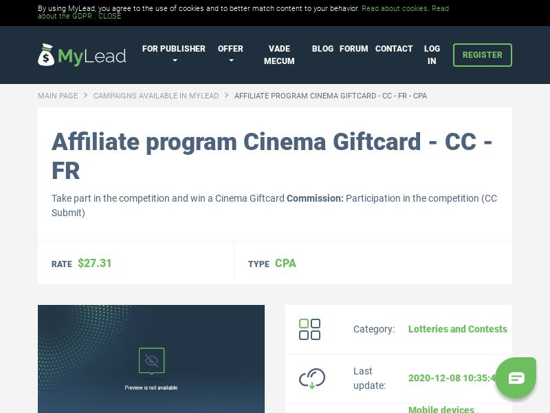 Cinema Giftcard - CC - FR (FR), [CPA], Lotteries and Contests, Credit Card Submit, paypal, survey, gift, gift card, free, amazon