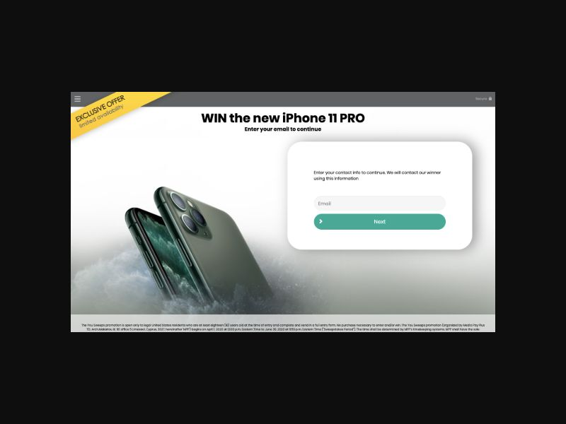 YOUSWEEPS - Win a New iPhone 11 PRO (US)