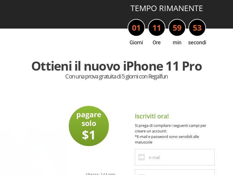 AdCenter Sweepstakes IT (iPhone 11 Pro) - CPA, CC Submit, Multi-Geo