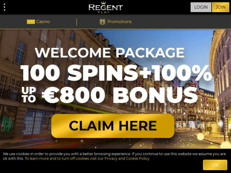 Regent Play Casino offers you an Up to €800 + 100 Free Spins Welcome Bonus