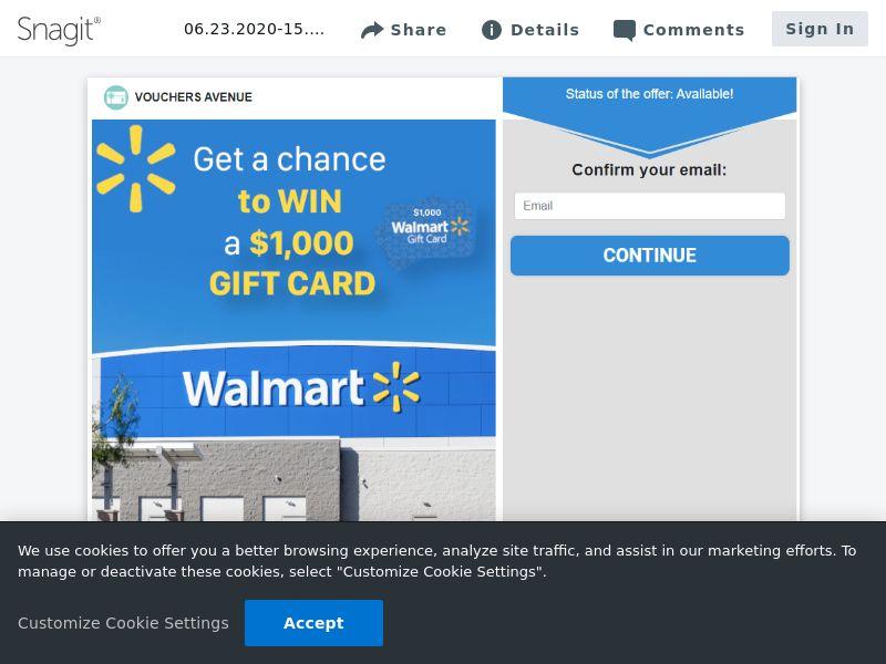 Vouchers Avenue - Walmart $1000 Gift Card (SOI) - US