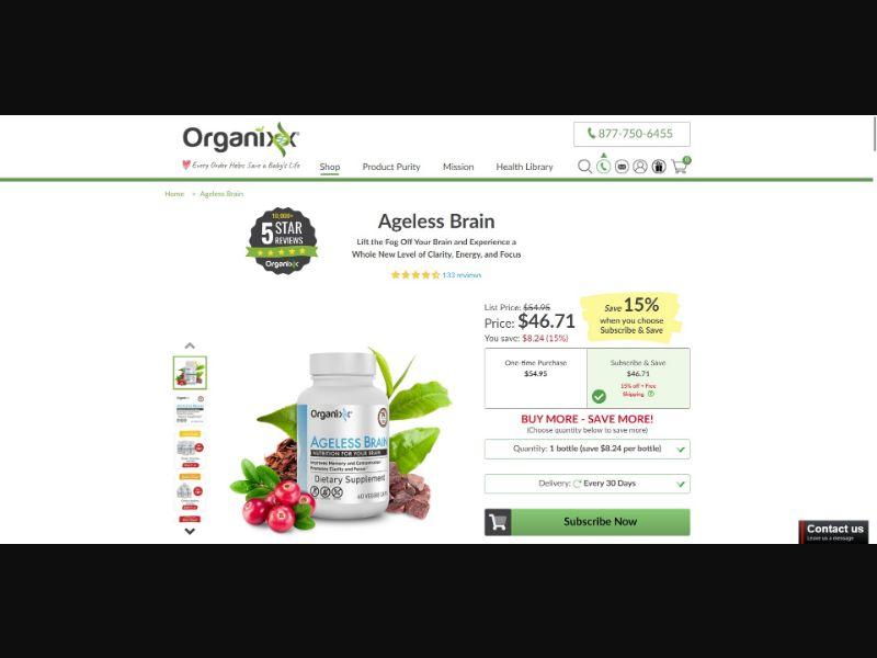 Organixx Ageless Brain - Brain Enhancement - SS - [GEOs with exceptions]