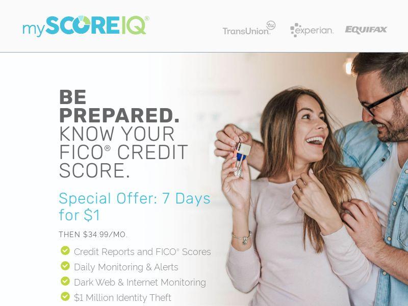 MyScore IQ - FICO Score Status - Free Trial $1 - [US]