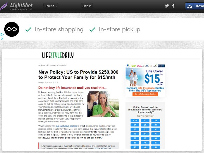 Lifestyle Daily Online Insurance (US) (CPL) (Personal Approval)