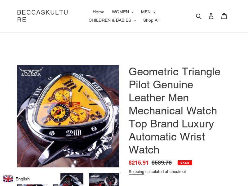 Geometric Pilot Leather Men Mechanical Watch