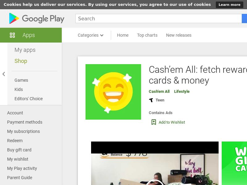 Cash'em All: fetch rewards, gift cards & money Android CPE - Intl