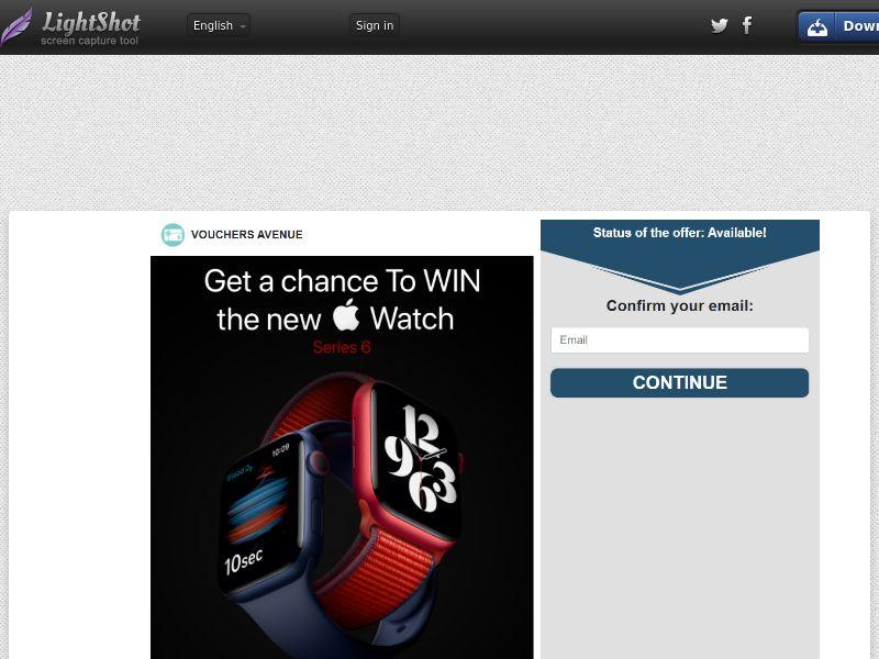 Vouchers Avenue - Win an Apple Watch 6 (US) (CPL) (Personal Approval)