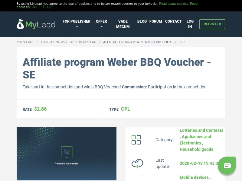 Weber BBQ Voucher - SE (SE), [CPL], Lotteries and Contests, Appliances and Electronics, Household goods, Single Opt-In, paypal, survey, gift, gift card, free, amazon, shop, gift
