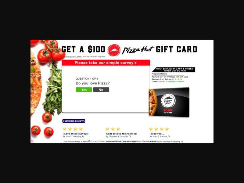 Dining Rewards Club - $100 Pizza Hut Gift Card - SOI (US)