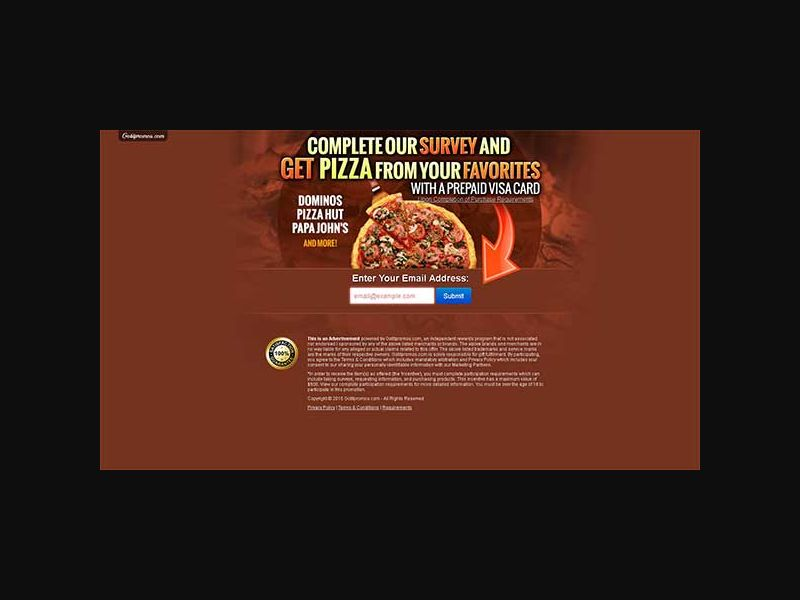Get a Pizza Gift Card - One Field