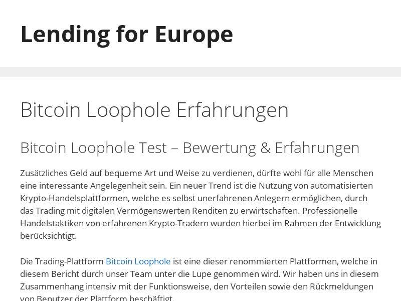 Bitcoin Loophole Erfahrungen - German Prelander