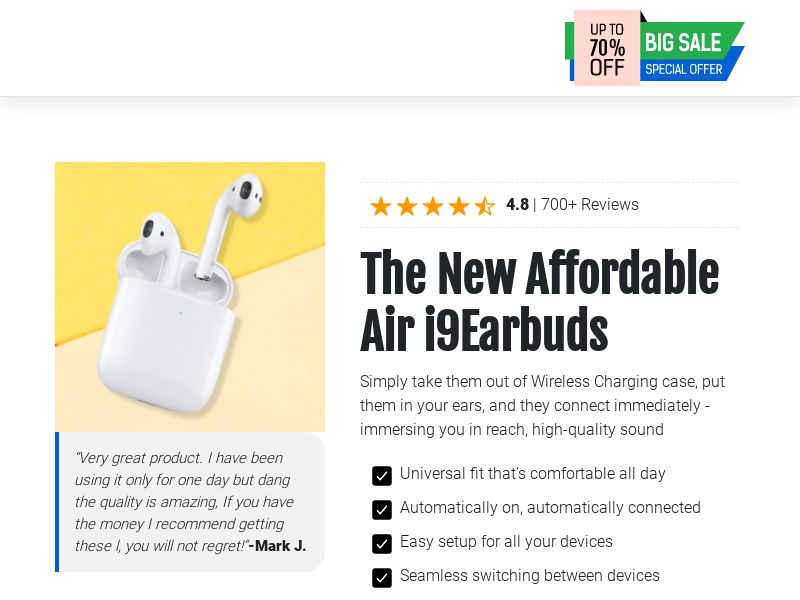New Affordable Air - i9Earbuds - CPA - [INTERNATIONAL]