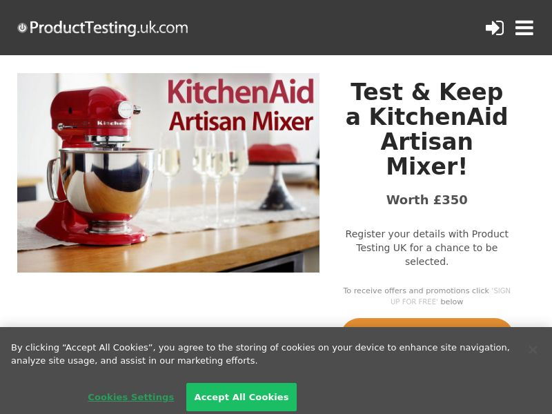 Email Submit - KitchenAid Artisan Mixer - SOI (UK)