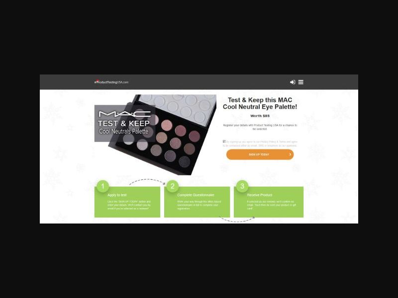 Product Testing - Mac Eye Palette (US)