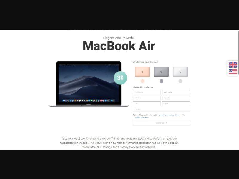 MacBook Air - Sweepstakes & Surveys - Trial - [SG]