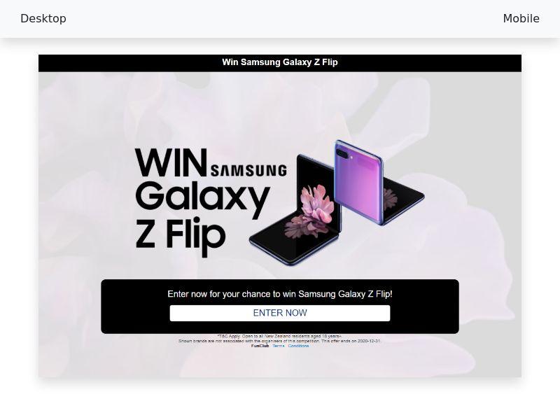 Win a Samsung Galaxy Z Flip - CPL/SOI - [NZ]