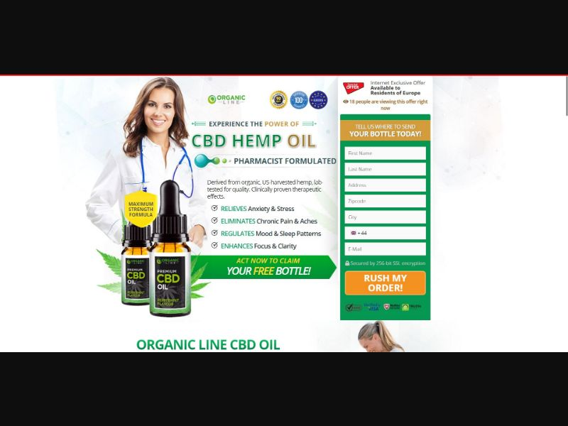 Organic Line CBD Oil - CBD - Trial - NO SEO - [UK] - with 1-Click Upsell [Step1 $28.6 / Upsell $22.75]