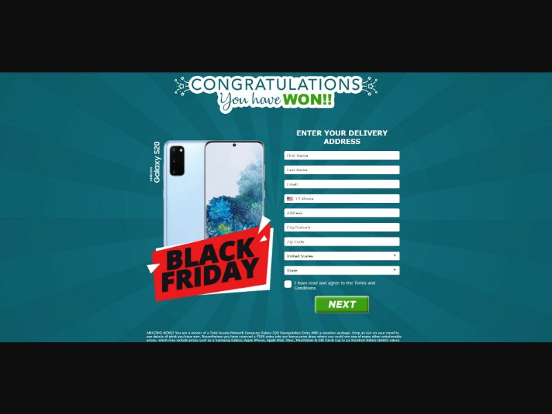 Samsung Galaxy S20 - Sweepstakes & Surveys - Trial - [US]