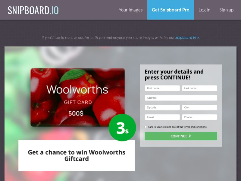 37236 - AU - BigEntry - Woolworths Giftcard - CC submit
