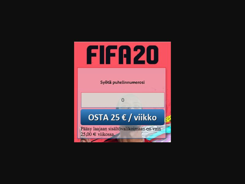 Fifa 2020 - SMS Flow - FI - Online Games - Mobile