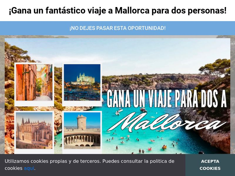Majorca Trip - ES (ES), [CPL], Lotteries and Contests, paypal, survey, gift, gift card, free, amazon