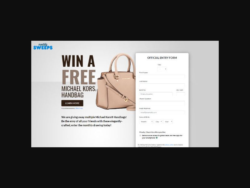 MonthlySweeps - Michael Kors - Form Submit