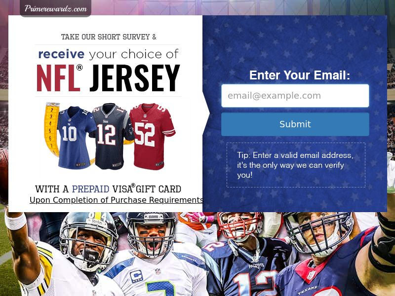 Incent - Email Submit NFL Jersey V2 - US