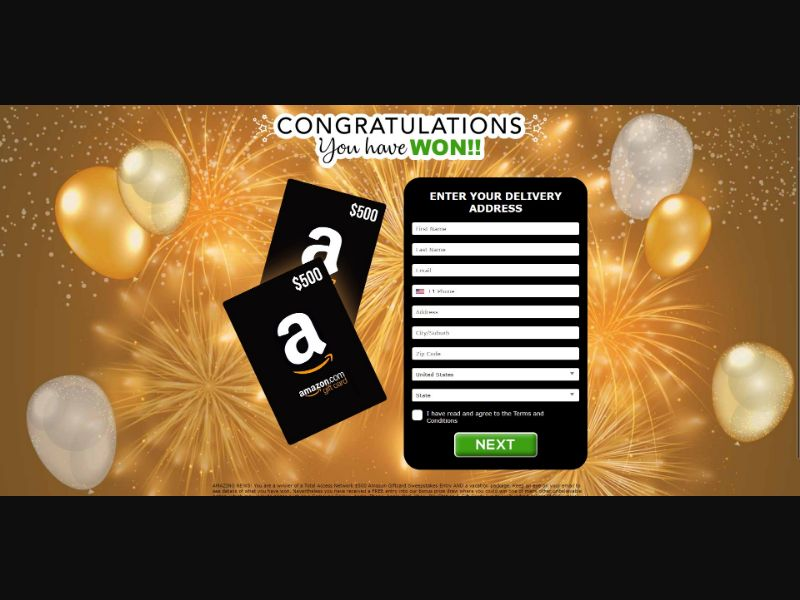 $500 Amazon Giftcard - Sweepstakes & Surveys - Trial - [US]