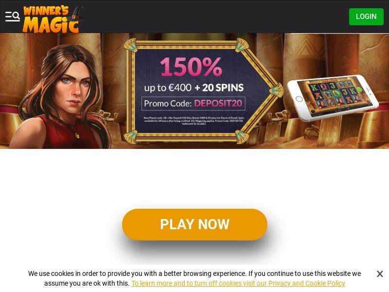 Winners Magic Casino - Exclusive offer DEPOSIT20 - CPA | NZ, IE, SLO