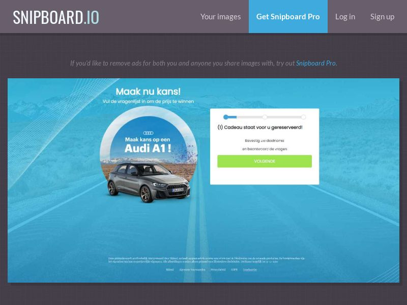 WinAds - Audi A1 - Free Car (NL) (CPL) (Personal Approval)