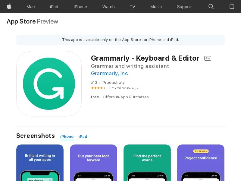 Grammarly iOS-US (redirects only with IDFA)*Affilitest blocked* CPI (Hard KPi)