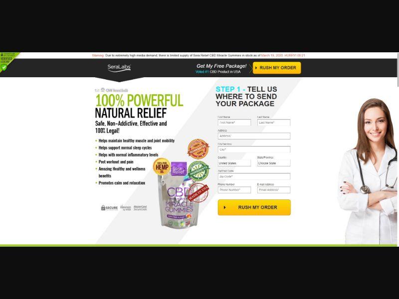 Sera Relief CBD Miracle Gummies - CBD - SS - [US]