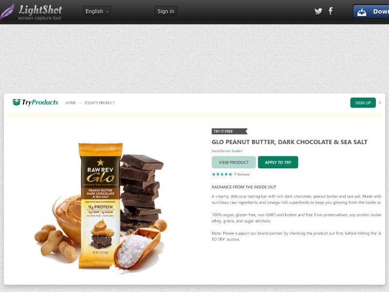 Free GLO Peanut Butter, Dark Chocolate & Sea Salt Bars (US) (CPL) (Personal Approval)