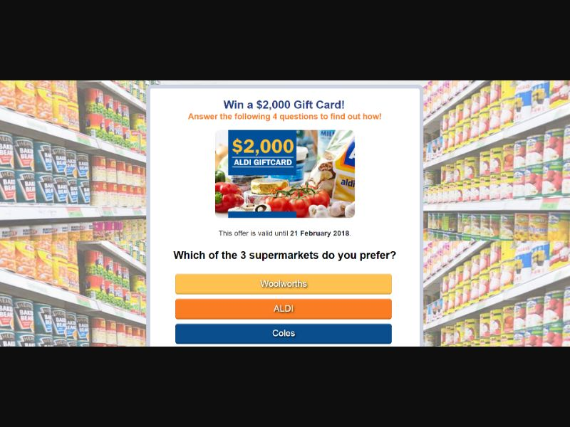 Aussie Prizes - $500 Aldi Giftcard
