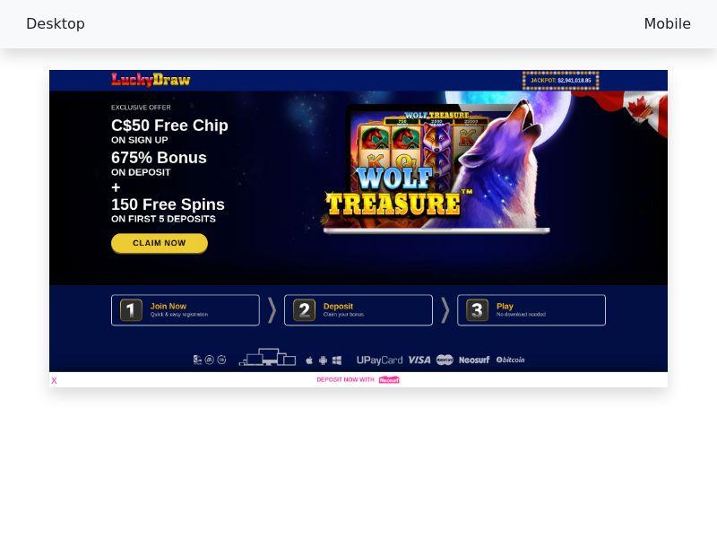 Lucky Draw Casino - CPA - CA, AU, ZA