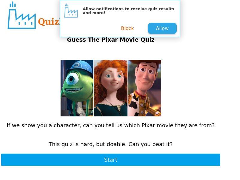Pixar Movie Quiz - US/CA - CPL