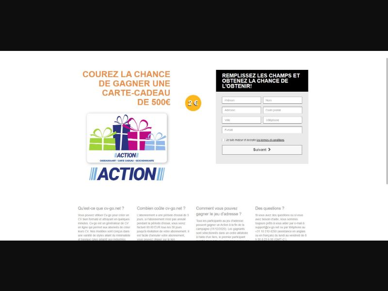 Action Giftcard - Sweepstakes & Surveys - Trial - [FR]