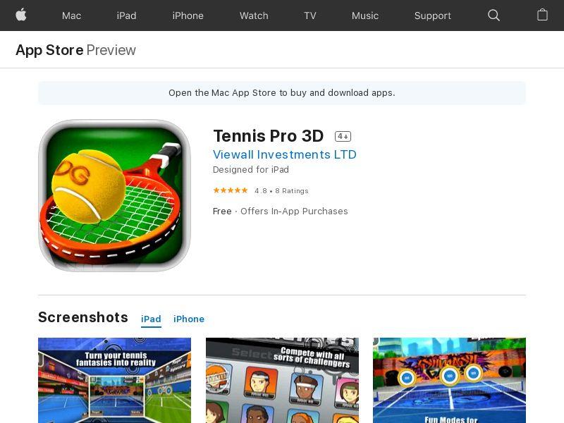 Tennis Pro 3D (iPhone 9.0+, iPad 9.0+) US - Non incent
