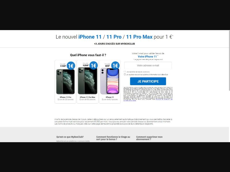 MyBoxClub iPhone 11 - Sweepstakes & Surveys - Trial - [FR, BE]