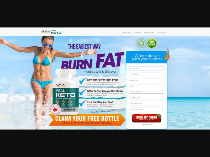 Alpha Evolution Vital Keto - Diet & Weight Loss - Trial - [CA] - with 1-Click Upsell [Step1 $24.05 / Upsell $23.4]